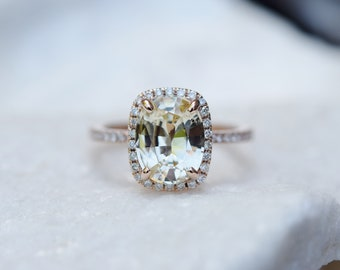 2.55ct Champagne Yellow sapphire ring. Cushion ring. 14k rose gold diamond ring. Rose gold ring sapphire ring by Eidelprecious