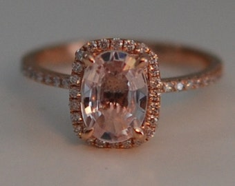 Rose gold ring engagement ring. Peach sapphire 1.69ct cushion sapphire diamond ring.