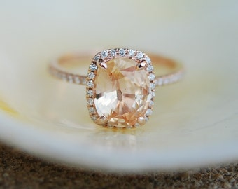 Apricot Peach Champagne Sapphire Ring 14k Rose Gold Diamond Engagement Ring 4.3ct Cushion sapphire ring by Eidelprecious