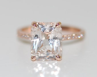 White Sapphire Engagement Ring Engagement ring Blake Lively ring emerald cut 18k rose gold diamond ring 3.7ct sapphire engagement ring