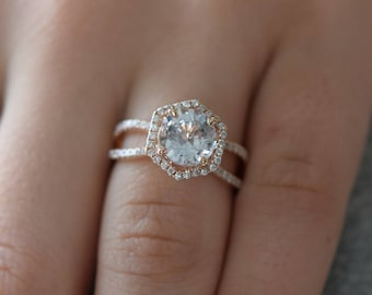Hexagon Engagement Ring. White to Ice blue Sapphire Ring. 14k Rose Gold 2.15ct Round sapphire engagement ring