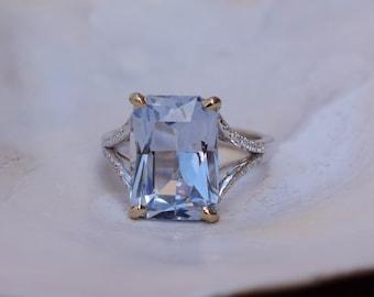 New! Paris Engagement Ring. Ice Blue Sapphire Ring. White Gold Ring. Gray Blue sapphire emerald radiant cut engagement ring by Eidelprecious