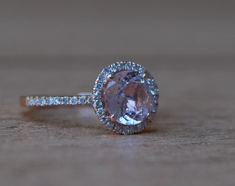1.5ct round Peach sapphire Champagne sapphire ring diamond ring 14k rose gold Engagement ring by Eidelprecious