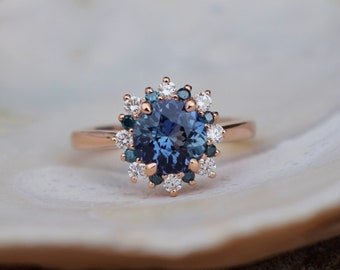 New! Teal Snowflake ring Sapphire engagement ring Round Teal sapphire ring Teal Diamond ring Rose gold ring engagement ring by Eidelprecious