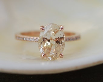 Blake Lively ring. Champagne Sapphire Engagement Ring. Oval engagement ring. 14k rose gold diamond ring. Sapphire ring by Eidelprecious