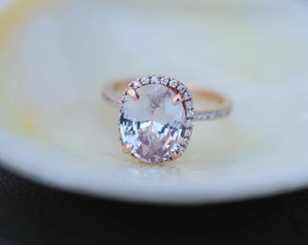 Rose gold ring. Ice peach champagne sapphire 14k rose gold diamond ring engagement ring 4.05ct cushion sapphire ring by Eidelprecious