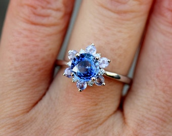 Blue Snowflake Engagement Ring. Blue Sapphire ring. Round Blue sapphire ring Diamond ring White gold ring engagement ring by Eidelprecious