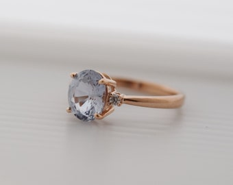 Gray blue sapphire ring. Engagement Ring. Rose gold engagement ring. Sapphire ring 3 stone ring by Eidelprecious