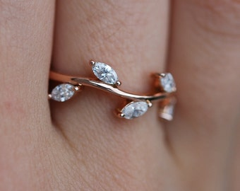 Diamond wedding band Rose Gold Wedding Band Marquise Diamonds 14K Rose Gold Ring by EidelPrecious