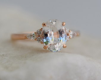 Engagement Ring Rose gold engagement ring White Sapphire ring Campari ring Oval Rose gold diamond ring 1.5ct ring Eidelprecious ring