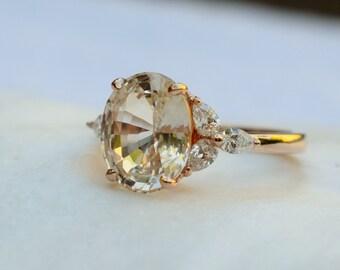 Spring 2020 - Trillium- Sapphire engagement ring. Rose gold engagement ring. Champagne sapphire ring. Oval Sapphire by Eidelprecious
