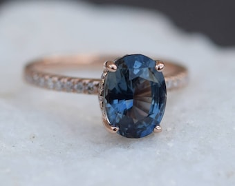 Teal sapphire engagement ring. Peacock green blue sapphire 3.04ct oval halo diamond  ring 14k Rose gold. Engagemet rings by Eidelprecious