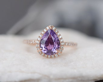 Lavender sapphire ring. 1.6ct Pear cut purple lavender sapphire 14k rose gold diamond ring engagement ring by Eidelprecious