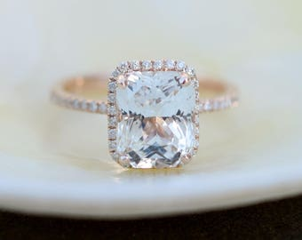 Emerald cut engagement ring. White sapphire ring. 14k Rose Gold Engagement Ring. 4.5ct white sapphire ring. Engagement ring Eidelprecious.