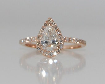 Rose Gold Engagement Ring. Pear Engagement Ring. Rose gold Pear Diamond Ring Pear Cut Diamond Ring. 0.9ct White D/VS2 Diamond Ring.