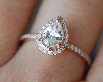 Rose gold ring Pear Sapphire 1.23ct white sapphire diamond ring 14k rose gold. Engagement ring by Eidelprecious