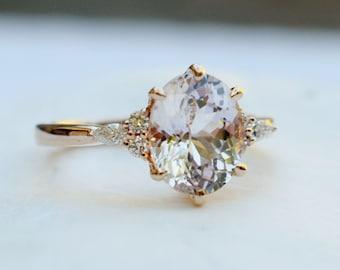 Spring 2020 - la Camparsita- Sapphire engagement ring. Rose gold engagement ring. Champagne sapphire ring. Oval Sapphire by Eidelprecious