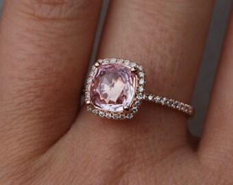 3ct Square Cushion Peach Champagne Sapphire 14k rose gold diamond Engagement Rings by Eidelprecious