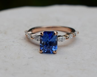 Royal Blue sapphire ring Engagement ring 14k rose gold diamond ring 3.5ct radiant blue sapphire ring Godivah design by Eidelprecious
