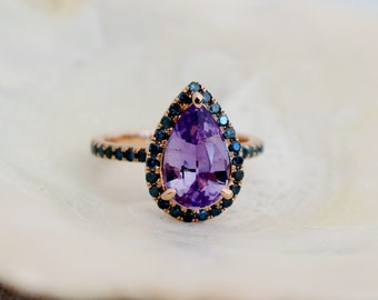 Spring 2020. Purple Sapphire Engagement Ring. 14k Rose Gold 2.2ct, Pear Cut Purple Sapphire Ring. Engagement ring by Eidelprecious