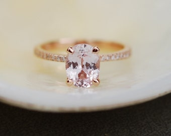Rose gold engagement ring Peach sapphire 3ct diamond ring 14k rose gold oval sapphire Blake design ring by Eidelprecious