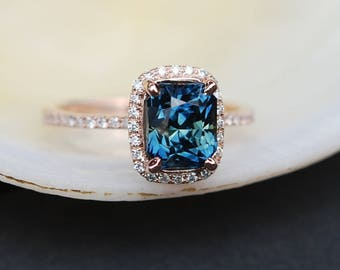 Peacock sapphire engagement ring. 2ct emerald cut blue green sapphire ring diamond ring 14k Rose gold ring