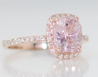 Champagne sapphire engagement ring 14k rose gold diamond ring 2.8ct cushion light champagne sapphire