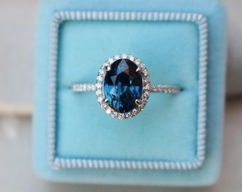 Oval Blue Sapphire Engagement Ring. White Gold Engagement Ring 2.93ct oval teal blue sapphire ring. White gold ring by Eidelprecious
