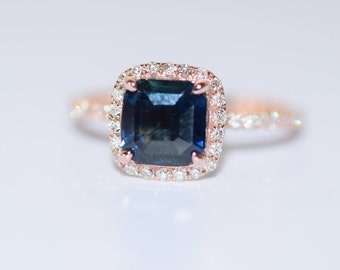 Peacock sapphire engagement ring. 2ct square cushion cut blue green sapphire ring diamond ring 14k Rose gold ring by Eidelprecious
