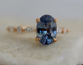 Blue sapphire engagement ring. Mint blue sapphire 3ct oval ring diamond ring 14k Rose gold ring Godivah ring by Eidelprecious