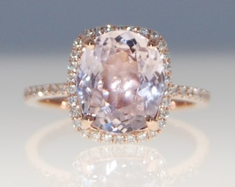 Engagement Ring 14k Rose Gold Diamond Ring 4.5ct Cushion Mauve Blush Ice Peach Champagne Sapphire ring by Eidelprecious