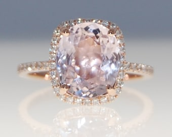 Engagement Ring 14k Rose Gold Diamond Ring 4.8ct Cushion Mauve Blush Ice Peach Champagne Sapphire ring by Eidelprecious