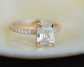 Blake Lively ring  White Sapphire Engagement Ring emerald cut 14k rose gold diamond ring 2ct sapphire ring