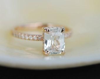 Blake Lively ring  White Sapphire Engagement Ring emerald cut 14k rose gold diamond ring 2.3ct sapphire ring
