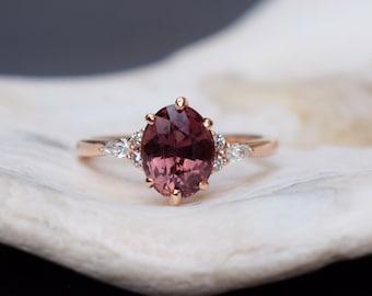OXBLOOD Sapphire engagement ring - la Camparsita-  Rose gold engagement ring. Maroon sapphire ring. Oval ring Sapphire by Eidelprecious
