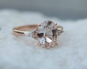 Peach sapphire engagement ring. Light peach champagne sapphire oval diamond ring 14k Rose gold. Campari Engagement ring by  Eidelprecious