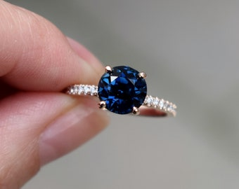 Fall/Winter mood sapphire. Midnight Blue Sapphire ring. Rose Gold Engagement Ring, Navy sapphire engagement ring by Eidelprecious