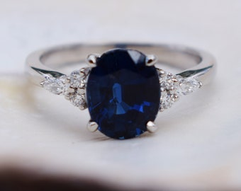 Platinum sapphire engagement ring. Royal blue green sapphire 2.5ct oval diamond ring. Campari Engagement ring by  Eidelprecious.