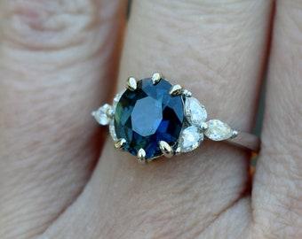Spring 2020 - la Camparsita- Sapphire engagement ring. White gold engagement ring. Blue sapphire ring. Oval Sapphire ring by Eidelprecious