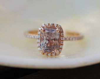 2.73ct Cushion Jasmine smokey peach champagne color change sapphire diamond ring 14k rose gold engagement ring by Eidelprecious