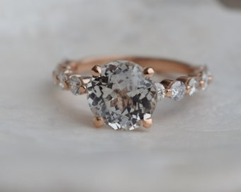 3.2ct White Sapphire ring. Rose Gold Engagement Ring.Diamond Engagement Ring by Eidelprecious