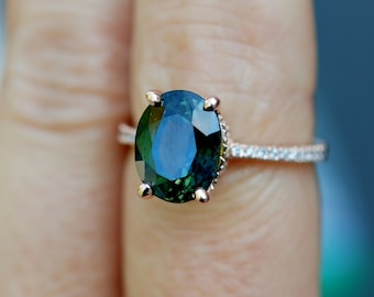 Peacock green sapphire ring. Sapphire engagement ring. 3.96ct oval diamond  ring 14k Rose gold ring. Engagemet rings by Eidelprecious.