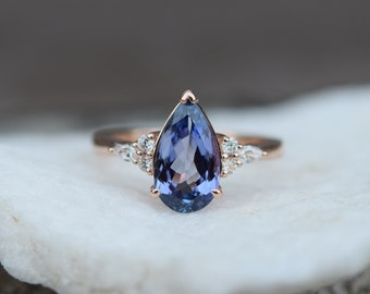 Tanzanite Ring. Rose Gold Engagement Ring 2.17ct Lavender Blue Tanzanite pear cut Campari design by Eidelprecious.
