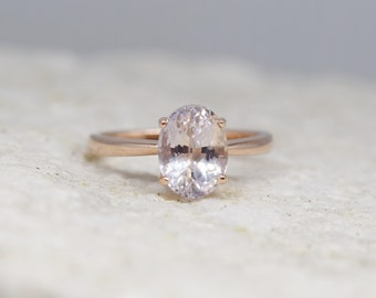 Champagne sapphire engagement ring. Light champagne sapphire 2.12ct oval diamond ring 14k Rose gold ring. Engagement ring by  Eidelprecious