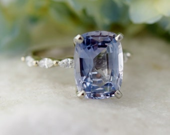 Cushion Engagement Ring. GIA 5.65ct Light Blue Sapphire ring. Godivah ring One of a kind ring Cushion Engagement ring  by Eidelprecious