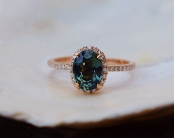 Teal Green sapphire engagement ring. Peacock green sapphire 1.6ct oval halo diamond  ring 14k Rose gold. Engagenet rings