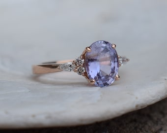 Lavender sapphire ring Engagement ring diamond ring oval light lavender sapphire ring Rose gold Campari design by Eidelprecious
