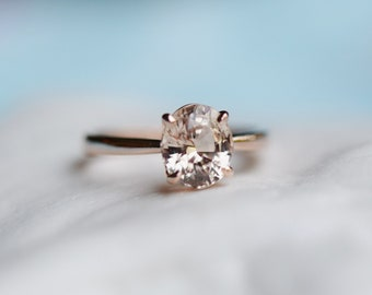 Champagne sapphire engagement ring. Light champagne sapphire 2.08ct oval ring 14k Rose gold ring. Engagement ring by  Eidelprecious