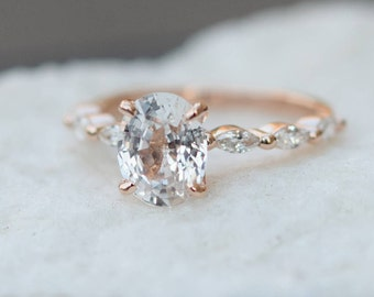 Oval Rose Gold Engagement Ring White sapphire engagement ring Sapphire Engagement ring Godivah design by Eidelprecious