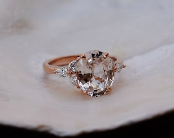 Champagne sapphire engagement ring. color change sapphire ring 4ct oval diamond ring Platinum ring. Trillium Engagement ring Eidelprecious